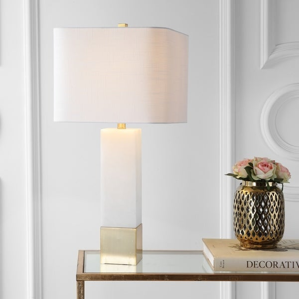 """Jeffrey 29"""" Metal/Marble LED Table Lamp, Brass Gold/White by JONATHAN Y"""