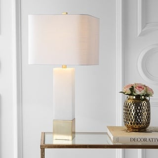 "Jeffrey 29"" Metal/Marble LED Table Lamp, Brass Gold/White by JONATHAN Y"
