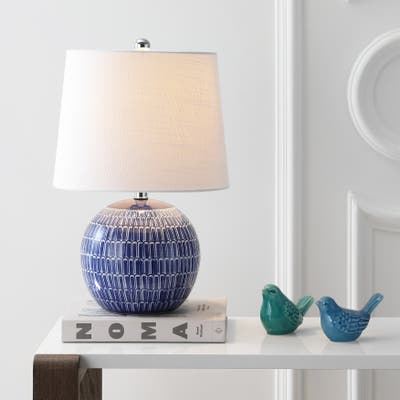 """Ronald 21"""" Ceramic LED Table Lamp, Navy by JONATHAN Y"""