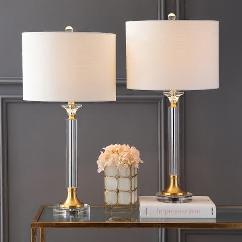 "Mark 28"" Crystal/Metal LED Table Lamp, Clear/Brass Gold (Set of 2) by JONATHAN Y"