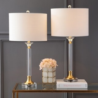 """Mark 28"""" Crystal/Metal LED Table Lamp, Clear/Brass Gold (Set of 2)"""
