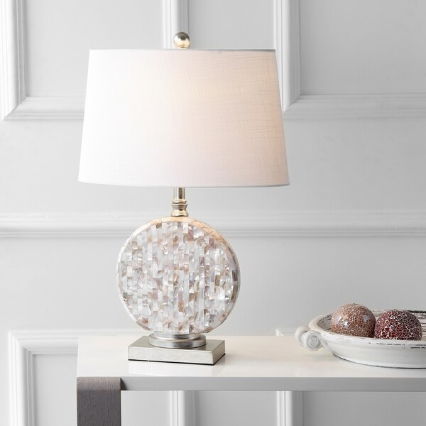 "Dennis 24"" Seashell LED Table Lamp, Cream"
