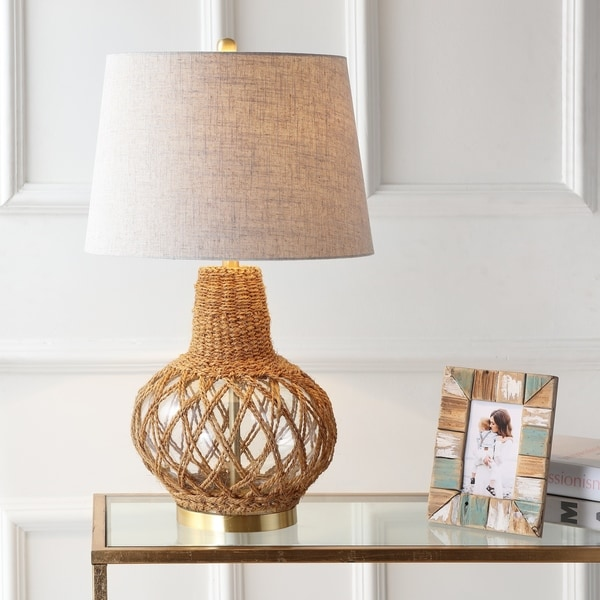 """Joseph 28.5"""" Glass /Rope LED Table Lamp, Brown/Clear"""