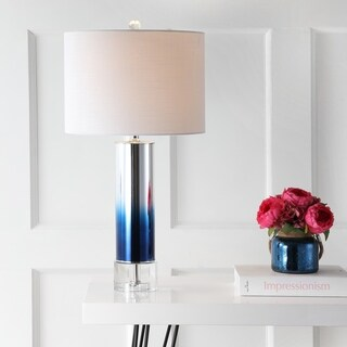 "Edward 27"" Glass/Crystal LED Table Lamp, Blue"
