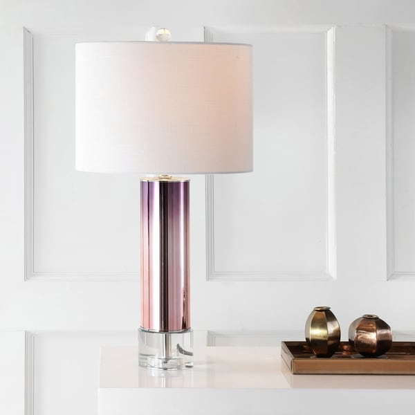 "Edward 27"" Glass /Crystal LED Table Lamp, Rose Gold"