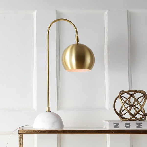 """Stephen 23.5"""" Metal/Marble LED Table Lamp, Brass Gold/White"""