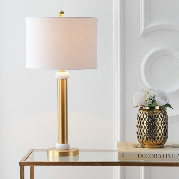 "Gregory 27"" Metal/Marble LED Table Lamp, Gold/White"