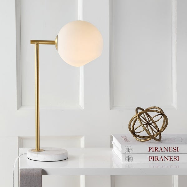 "Charles 20.5"" Metal/Marble LED Table Lamp, Gold/White"