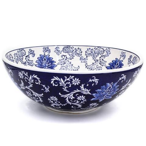 "Claybarn Blue Garden Stoneware 15"" Decorative Fruit Bowl"