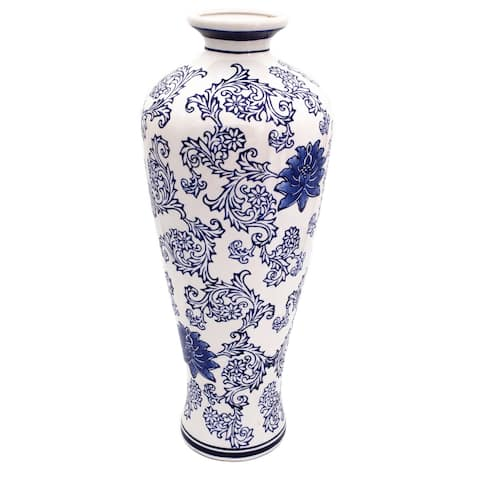 "Claybarn Blue Garden 20"" White Tall Vase"