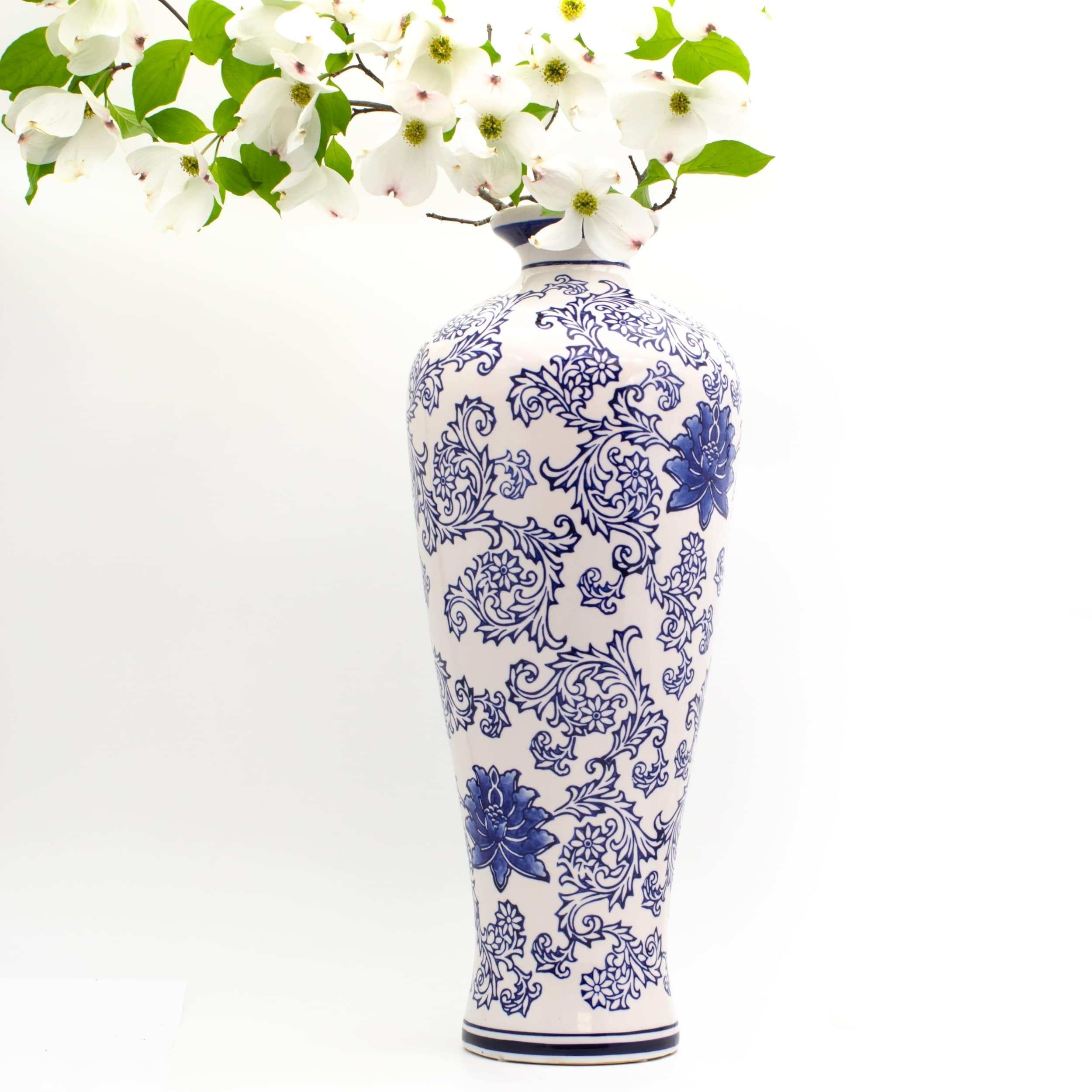 Shop Claybarn Blue Garden White Tall Vase Overstock 21030280