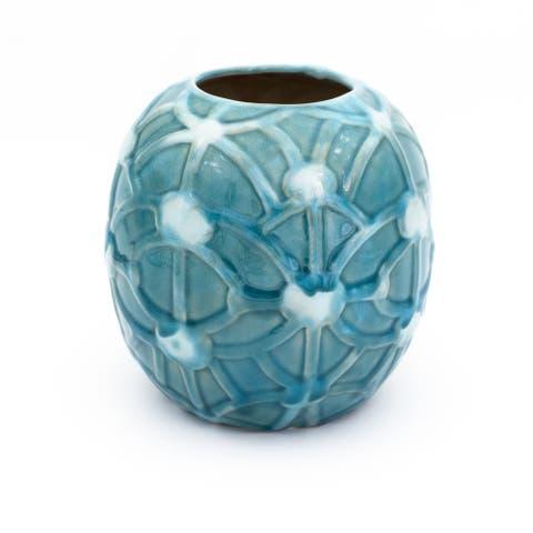 Claybarn Grotto Aqua Round Rope Vase