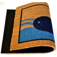 Outdoor Blue/ Black Blue Beach Whale Doormat
