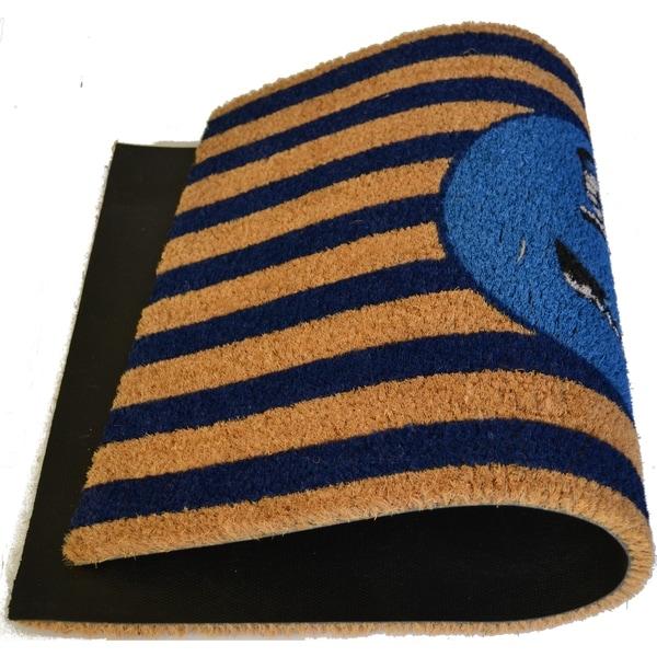 Outdoor Blue/ Black Blue Beach Anchor Doormat