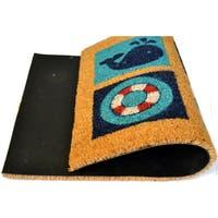 Outdoor Blue/ Black Blue Beach Sealife Doormat