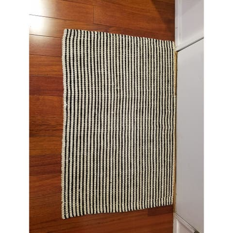 Indoor Jute Beige/ Black Stripe Floor Mat