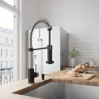 VIGO Edison Pull-Down Spray Kitchen Faucet with Soap Dispenser - Black/Silver