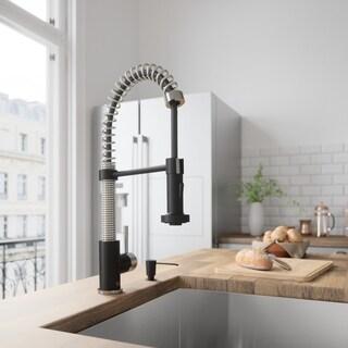 VIGO Edison Pull-Down Spray Kitchen Faucet with Soap Dispenser - Black/Silver
