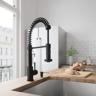 Link to VIGO Edison Matte Black Pull-Down Kitchen Faucet with Soap Dispenser Similar Items in Faucets