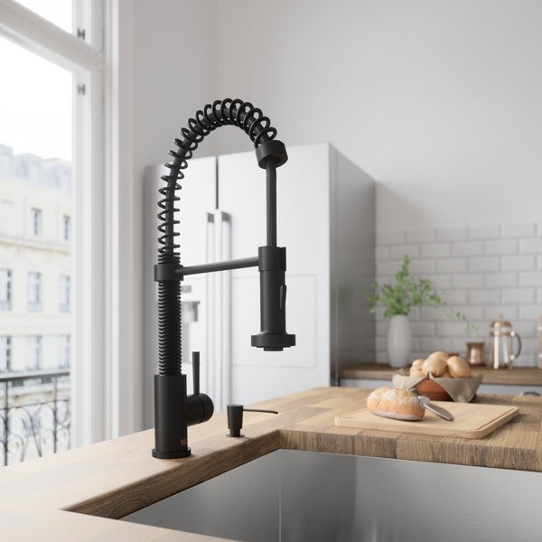 VIGO Edison Matte Black Pull-Down Kitchen Faucet with Soap Dispenser