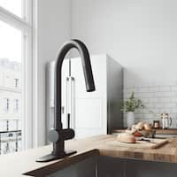 VIGO Gramercy Matte Black Pull-Down Kitchen Faucet with Deck Plate