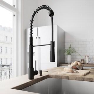 Shop Vigo Edison Matte Black Pull Down Kitchen Faucet With Soap