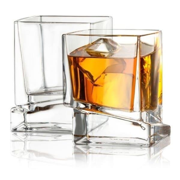 JoyJolt Carre Square Whiskey Glasses, 10 Oz Set of 2 Old Fashioned Glasses. Opens flyout.