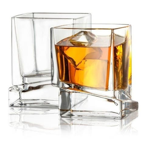 JoyJolt Carre Square Whiskey Glasses, 10 Oz Set of 2 Old Fashioned Glasses