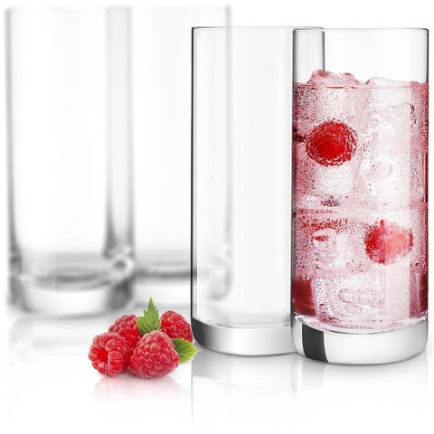 JoyJolt Stella Non-Leaded Crystal High Ball Glasses, 14.2 Oz Set of 4 Tumbler Drinking Glasses