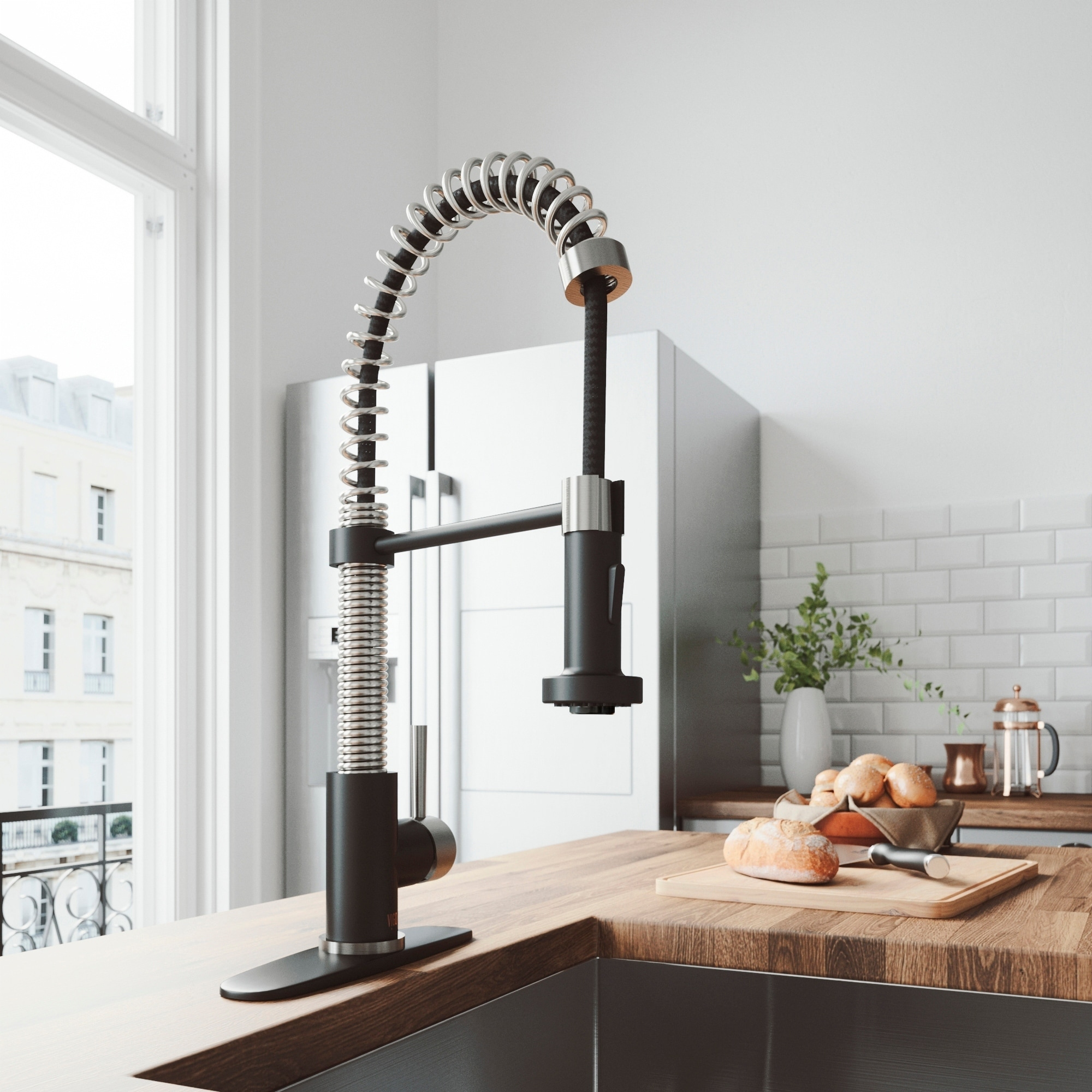 VIGO Edison Stainless Steel and Black Kitchen Faucet with Deck Plate