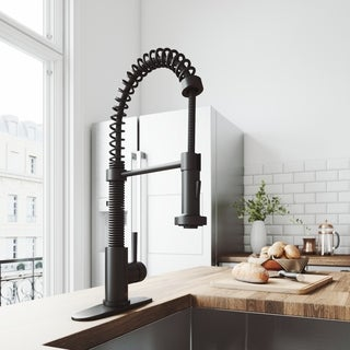 VIGO Edison Matte Black Pull-Down Spray Kitchen Faucet with Deck Plate