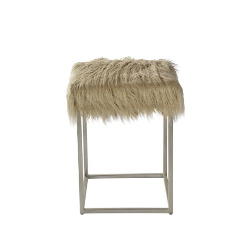 Renwil Sands Beige Fauz Fur Top and Silver Leaf Iron Base Stool