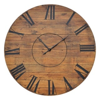 Renwil Mirren Brown Wood and Metal Accent Farmhouse Clock