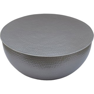 Renwil Cooper Hammered Aluminum Drum Coffee Table