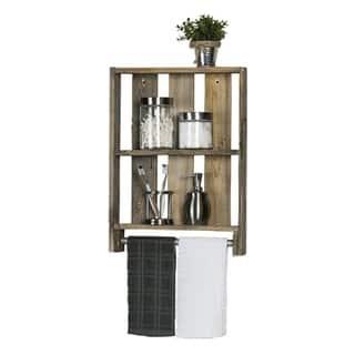 Del Hutson Designs Reclaimed Wood Bathroom Plank Shelf with Towel Bar