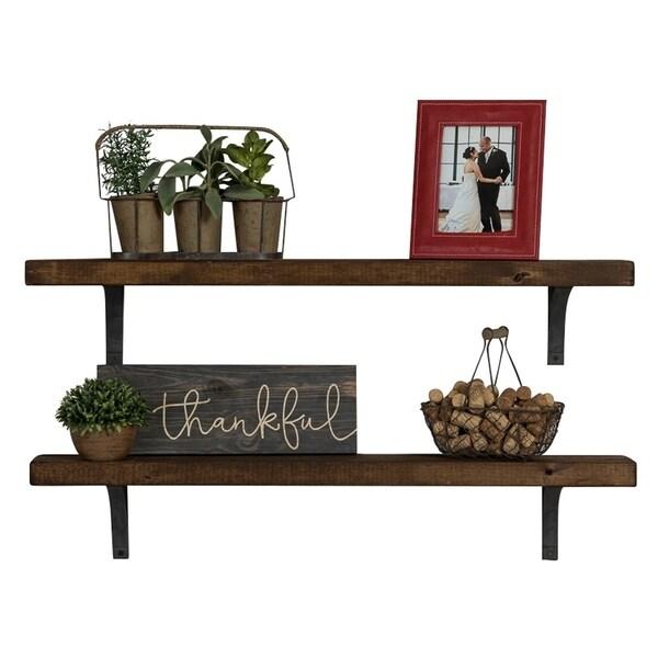 Del Hutson Designs Industrial Grace Simple Bracket Shelves, Set of 2