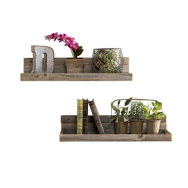 Del Hutson Designs Barnwood Floating Shelves, Set of 2