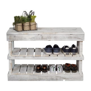 Del Hutson Designs Barnwood Shoe Rack (Option: White)