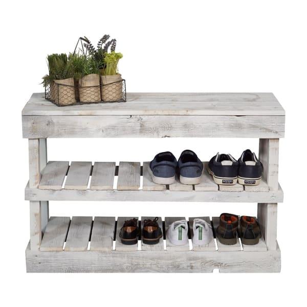 Handmade Del Hutson Designs Barnwood Shoe Rack Overstock 21030648