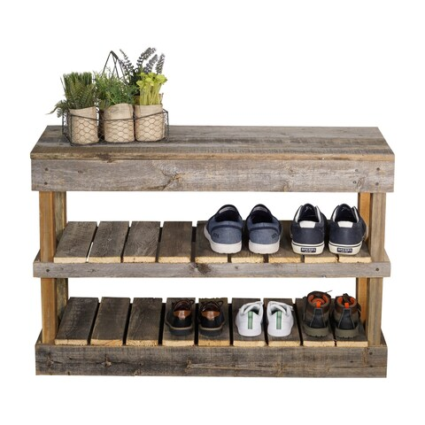 Del Hutson Designs Barnwood Shoe Rack
