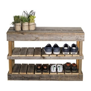 Del Hutson Designs Barnwood Shoe Rack (2 options available)