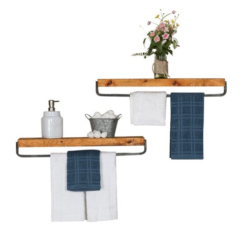 Del Hutson Designs True Floating Towel Rack, Set of 2