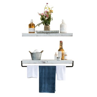 Del Hutson Designs True Floating Shelf and Towel Rack (Option: White)
