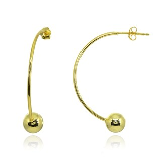 Mondevio Polished Curved 6mm Bead Earrings in Sterling Silver
