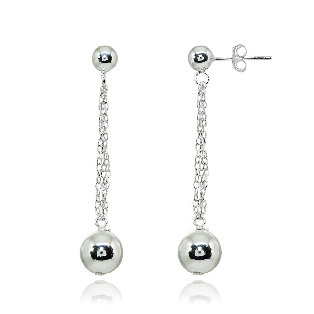 925 Sterling Silver Polished Beaded Dangle Post Earrings