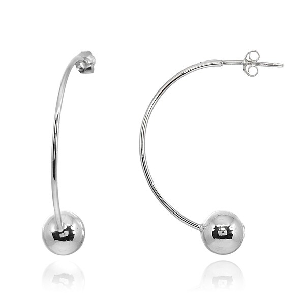c0e177f3d Shop Mondevio Polished Curved 8mm Bead Earrings in Sterling Silver ...