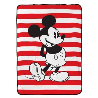 "Disney Mickey Mouse Jersey Stripe Plush Twin Blanket , 62"" x 90"""