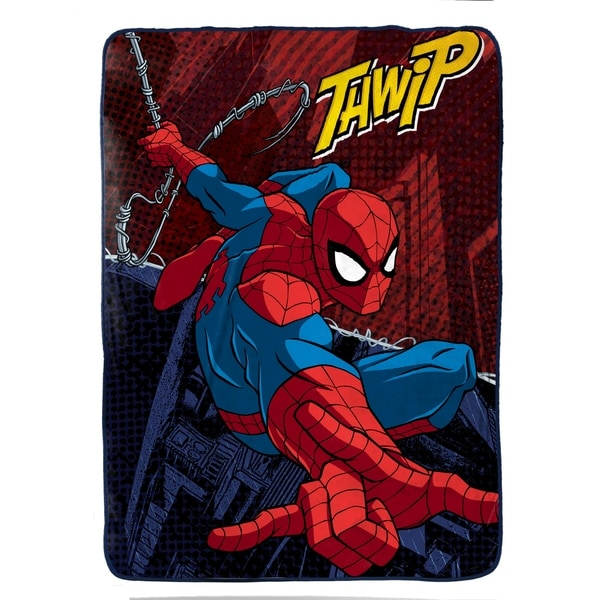 "Marvel Spiderman Burst Plush Twin Blanket, 62"" X 90"""