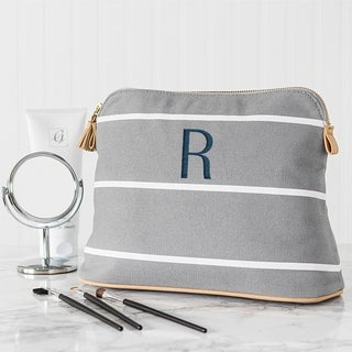 Personalized Grey Striped Cosmetic Bag