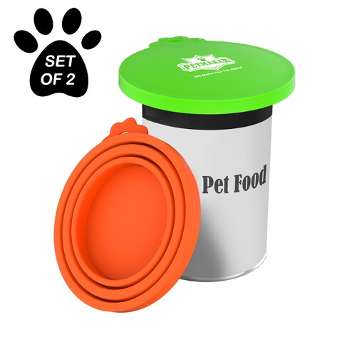 Silicone Pet Food Can Lids-Keep Opened Dog or Cat Food Portions Fresh-Fits 3oz., 5.5oz., 12oz., BPA-Free by Petmaker (Set of 2)